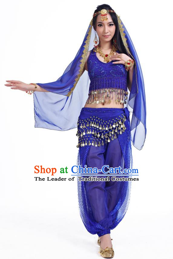 Traditional Indian Belly Dance Sequined Royalblue Dress Asian India Oriental Dance Costume for Women
