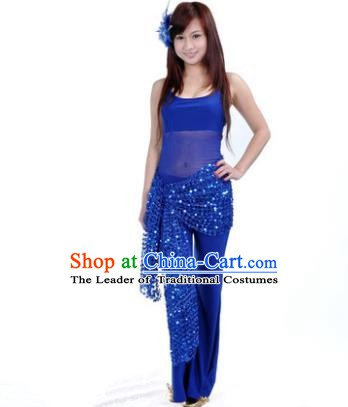 Traditional Indian Belly Dance Oriental Dance Deep Blue Costume for Women