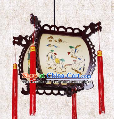 Traditional Chinese Painted Palace Lanterns Hanging Lantern Ancient Ceiling Lamp