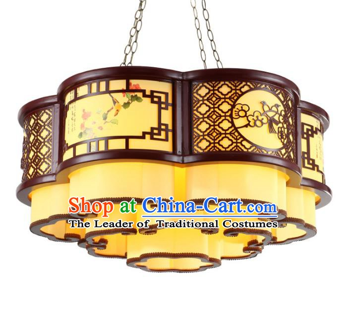 Traditional Chinese Auspicious Clouds Palace Lanterns Handmade Wood Hanging Lantern Ancient Ceiling Lamp