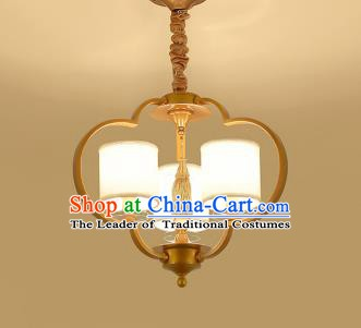 Traditional Chinese Gold-framed Ceiling Palace Lanterns Handmade Three-Lights Lantern Ancient Lamp