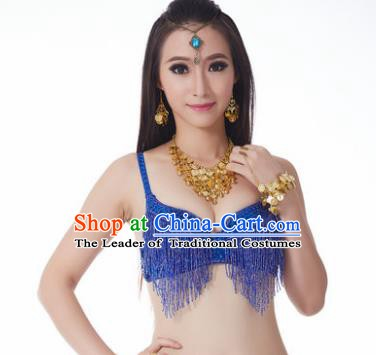 Indian National Belly Dance Costume Sexy Royallbue Tassel Brassiere for Women