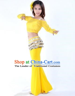 Indian National Belly Dance Yellow Uniform Bollywood Oriental Dance Costume for Women