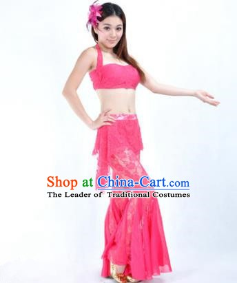 Indian National Belly Dance Rosy Lace Suits Bollywood Oriental Dance Costume for Women