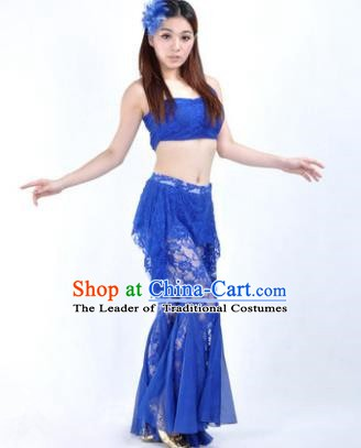 Indian National Belly Dance Royalblue Lace Suits Bollywood Oriental Dance Costume for Women