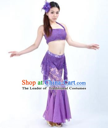 Indian National Belly Dance Purple Lace Suits Bollywood Oriental Dance Costume for Women