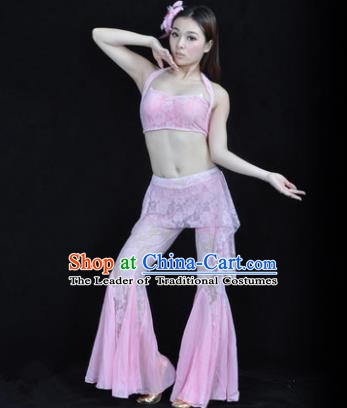Indian National Belly Dance Pink Lace Suits Bollywood Oriental Dance Costume for Women