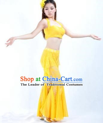 Indian National Belly Dance Yellow Lace Suits Bollywood Oriental Dance Costume for Women