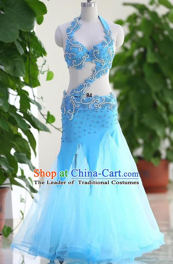 Traditional Indian National Belly Dance Blue Veil Dress India Bollywood Oriental Dance Costume for Women