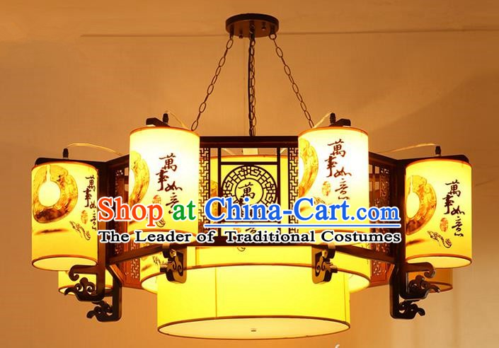 Traditional Chinese Painting Palace Lanterns Handmade Eight-Lights Lantern Ancient Ceiling Lamp