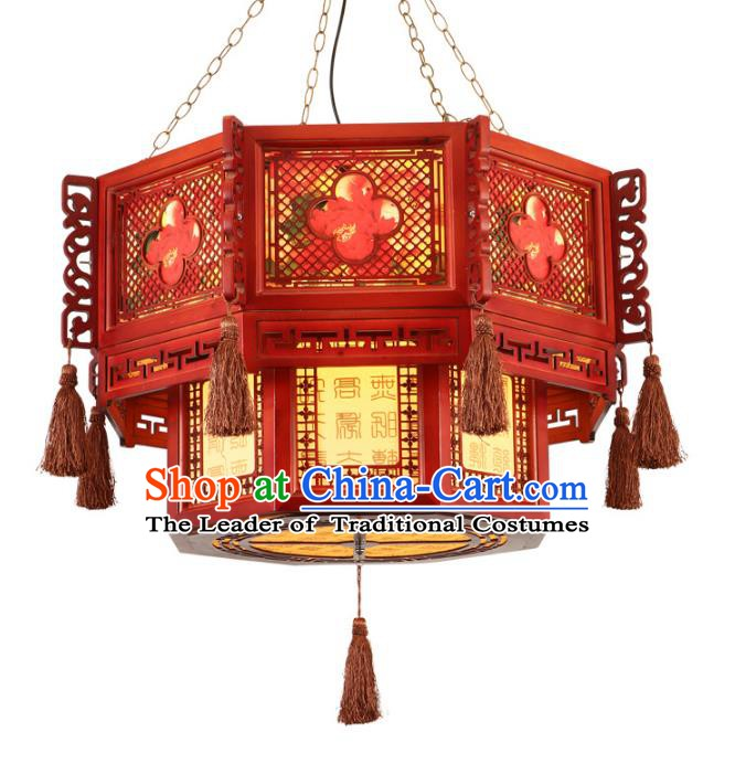 Traditional Chinese Ceiling Red Palace Lanterns Handmade Wood Carving Lantern Ancient Lamp