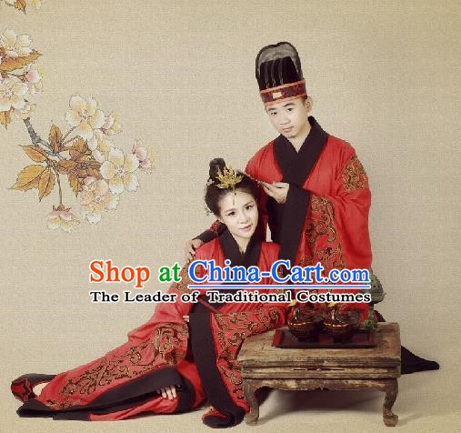 Traditional Chinese Ancient Han Dynasty Palace Embroidered Wedding Clothing for Women for Men