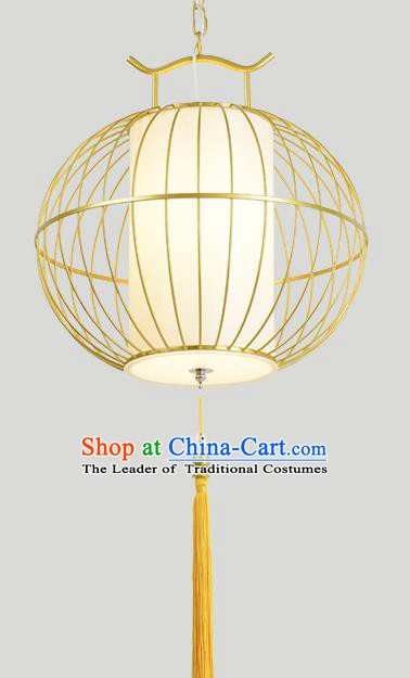 Traditional Chinese Iron Golden Birdcage Hanging Lanterns Ancient Handmade Lantern Ancient Lamp
