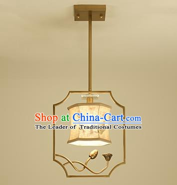 Traditional Handmade Chinese Painting Lotus Hanging Lanterns Ancient Ceiling Lantern Ancient Lamp