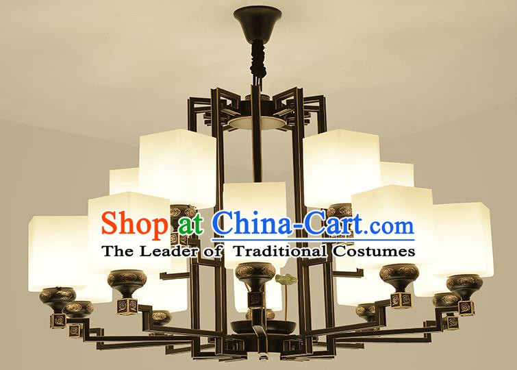 Traditional Handmade Chinese Iron Palace Lanterns Ancient Fifteen-Lights Porcelain Ceiling Lantern Ancient Lamp