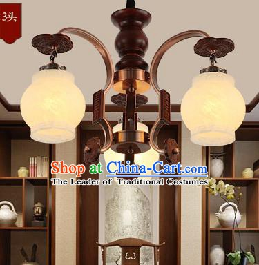Traditional Chinese Handmade Wood Lantern Three-Lights Palace Lantern Ancient Ceiling Lanterns