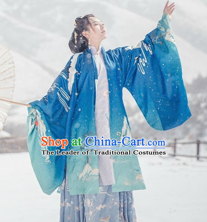 Chinese Ancient Palace Lady Cloak Traditional Ming Dynasty Princess Hanfu Embroidered Costume for Women