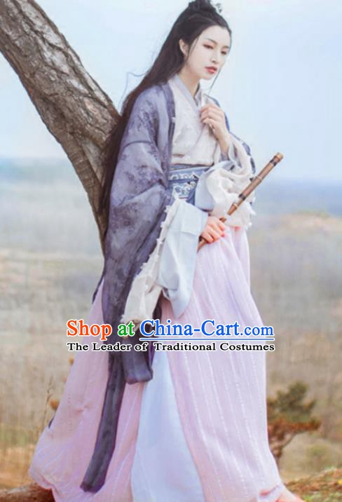 Ancient Chinese Jin Dynasty Palace Lady Hanfu Costume Embroidered Dress for Women