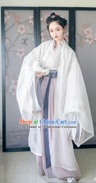 Ancient Chinese Jin Dynasty Princess Hanfu Costume Embroidered Dress for Women