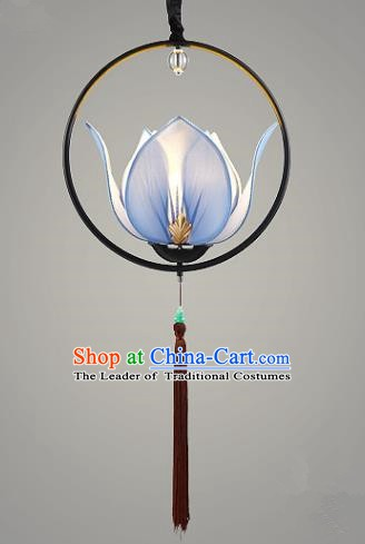 Traditional Chinese Blue Lotus Palace Lantern Handmade Ceiling Lanterns Ancient Lamp