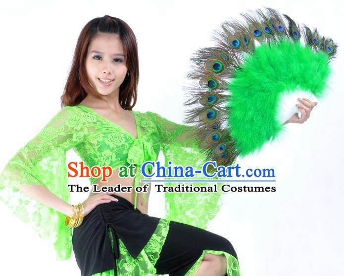 Indian Bollywood Belly Dance Fans Green Feather Folding Fans for Women