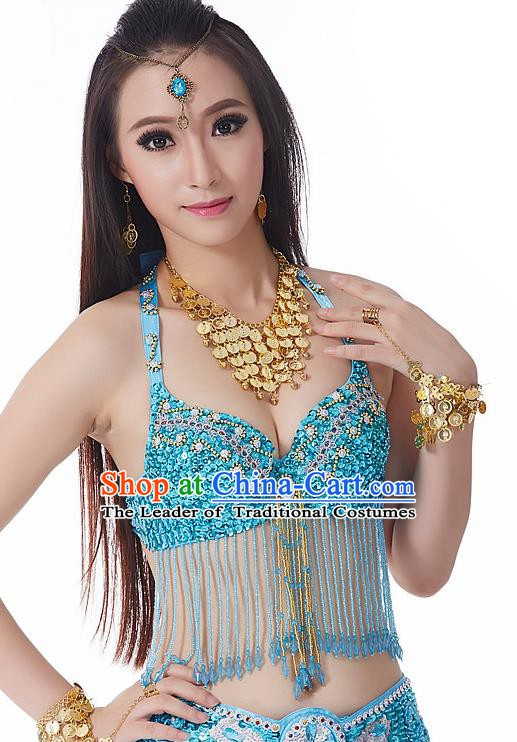 Indian National Belly Dance Tassel Blue Brassiere Bollywood Oriental Dance Costume for Women