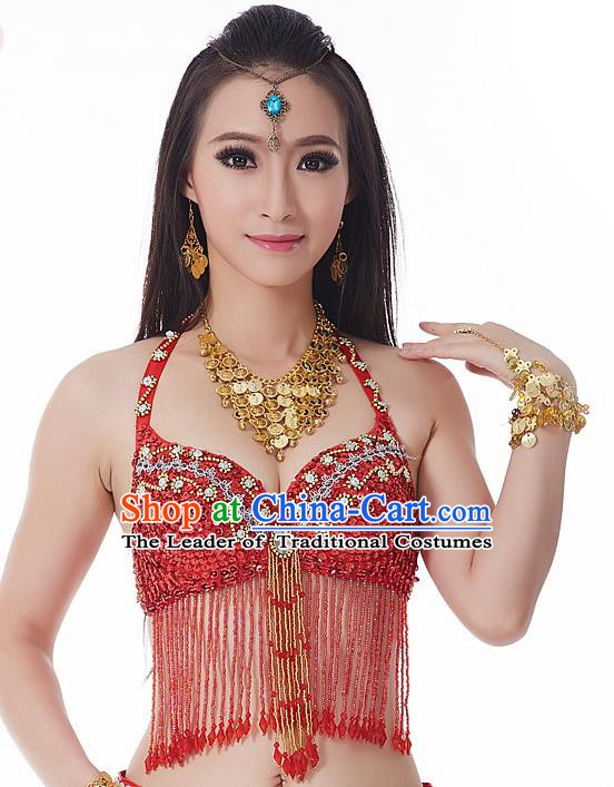 Indian National Belly Dance Tassel Red Brassiere Bollywood Oriental Dance Costume for Women