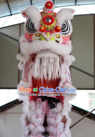 Chinese Traditional Parade White Lion Head Professional Wool Lion Dance Costumes Complete Set