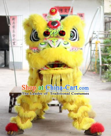 Top Grade Chinese Traditional Yellow Wool Lion Head Professional Lion Dance Costumes Complete Set