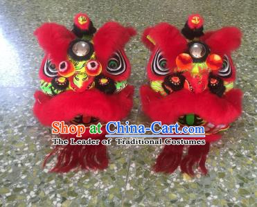 Top Grade Chinese Traditional Children Red Lion Head Professional Lion Dance Costumes Complete Set