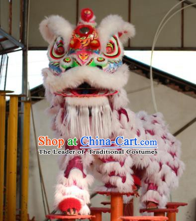 Top Grade Chinese Traditional Wool Lion Head Professional Lion Dance Rosy Costumes Complete Set