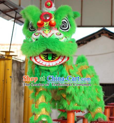 Chinese Traditional Spring Festival Green Wool Lion Head Professional Lion Dance Costumes Complete Set