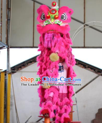 Chinese Traditional Spring Festival Pink Wool Lion Head Professional Lion Dance Costumes Complete Set