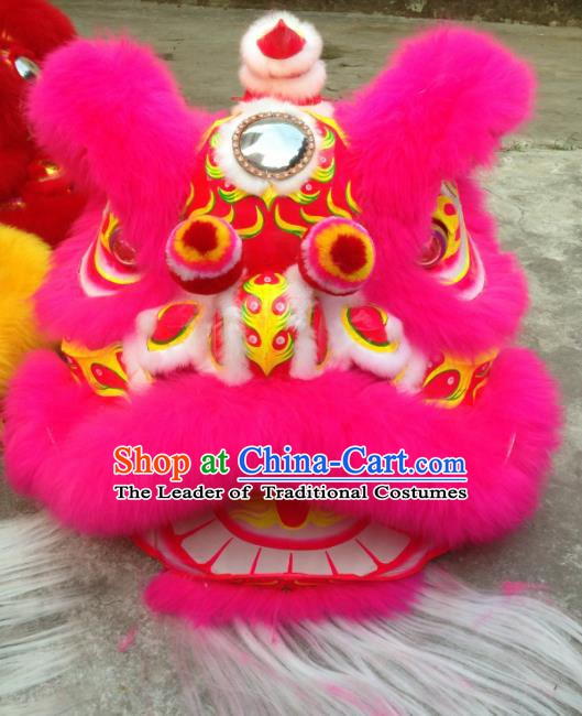 Chinese Traditional Professional Rosy Wool Lion Dance Costumes Celebration and Parade Lion Head Complete Set