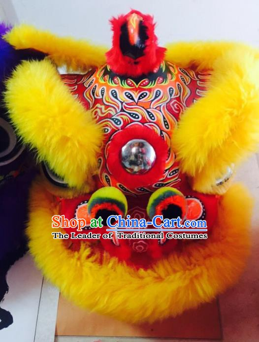 Chinese Traditional Professional Wool Lion Dance Costumes Celebration and Parade Red Lion Head Complete Set