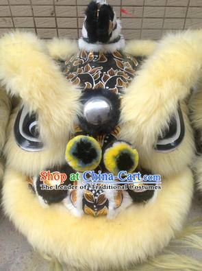 Chinese Traditional Professional Yellow Wool Lion Dance Costumes Celebration and Parade Lion Head Complete Set