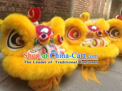 Chinese Traditional Yellow Wool Lion Dance Costumes Professional Celebration and Parade Lion Head Complete Set