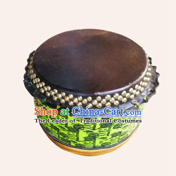 China Traditional Lion Dance Instruments Cowhide Green Drum Lion Leather Wood Drums