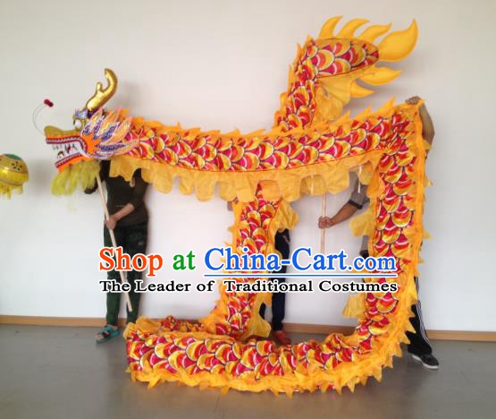 Chinese Traditional Yellow Dragon Dance Costumes Professional Lantern Festival Celebration Dragon Parade Complete Set