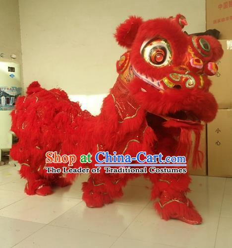 Chinese Traditional Red Wool Lion Dance Costumes Professional Celebration Parade Lion Head Complete Set