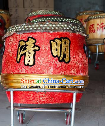 China Traditional Lion Dance Instruments Red Cowhide Drum Wood Lion Drums