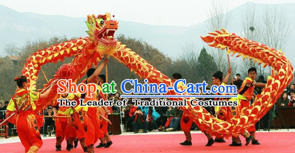Chinese Professional Parade LED Lights Dragon Dance Costumes Lantern Festival Celebration Dragon Props Complete Set