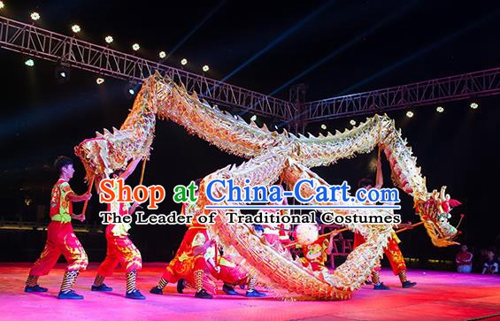 Chinese Professional Parade LED Lights White Dragon Dance Costumes Lantern Festival Celebration Dragon Props Complete Set