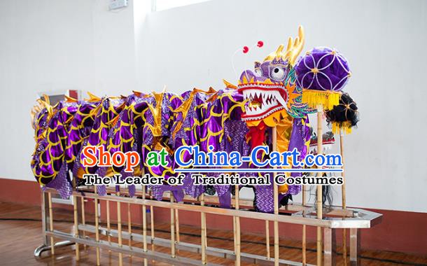 Chinese Professional Parade Purple Dragon Dance Costumes Lantern Festival Celebration Dragon Props Complete Set