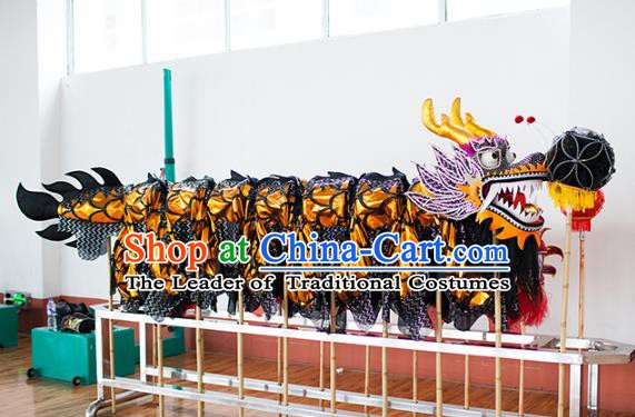Chinese Professional Parade Black Dragon Dance Costumes Lantern Festival Celebration Dragon Props Complete Set