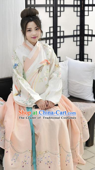 Traditional Chinese Ming Dynasty Ancient Nobility Lady Embroidered Hanfu Costume for Women