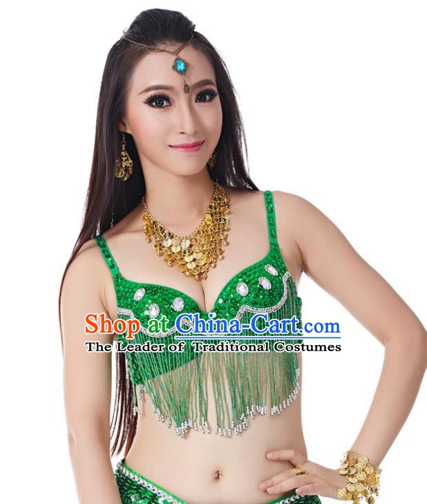 Indian Belly Dance Crystal Green Brassiere Asian India Oriental Dance Costume for Women
