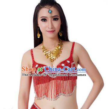 Indian Belly Dance Crystal Red Brassiere Asian India Oriental Dance Costume for Women