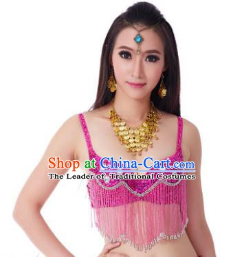 Indian Belly Dance Crystal Rosy Brassiere Asian India Oriental Dance Costume for Women
