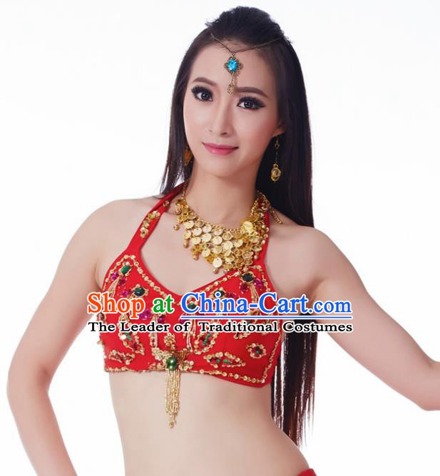 Indian Belly Dance Red Brassiere Upper Outer Garment Asian India Oriental Dance Costume for Women